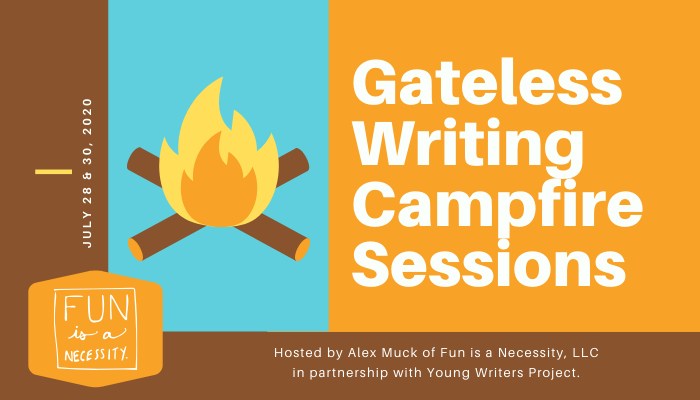 "Graphic with title ""Campfire sessions"" and a clip art campfire."